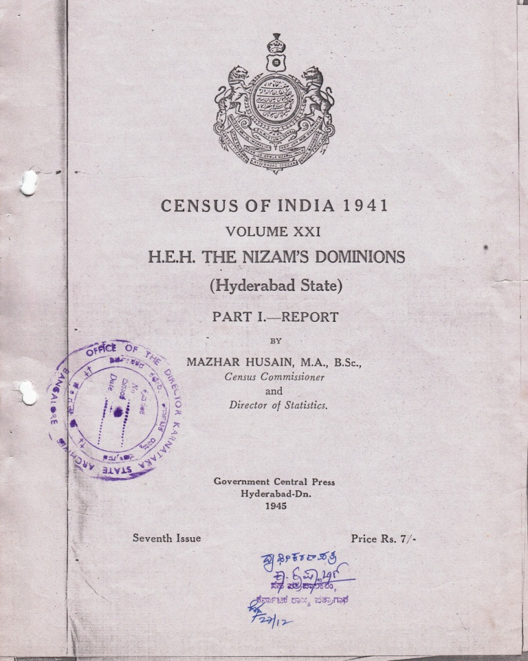 Census of India 1941 Hyderabad State Report_1